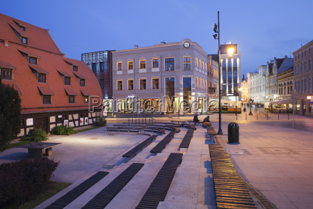 poland bydgoszcz city centre at night