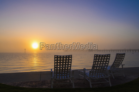 usa texas empty deck chairs at