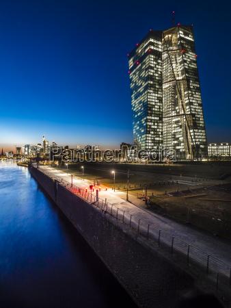 germany frankfurt lighted european central bank