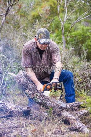 usa texas mature man sawing fallen