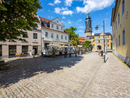 germany weimar gruener markt with city