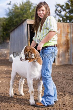 usa texas young girl handling boer