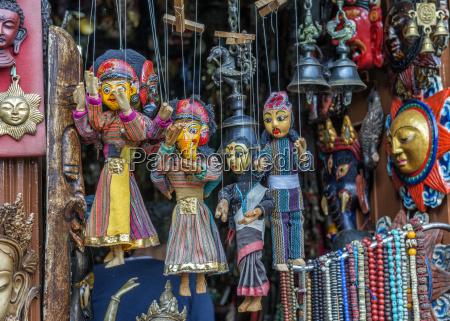 nepal kathmandu different souvenirs traditional marionettes