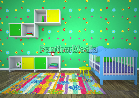 empty nursery room with green background