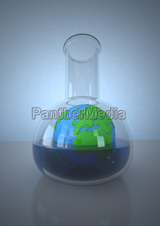 planet earth in laboratory flask against
