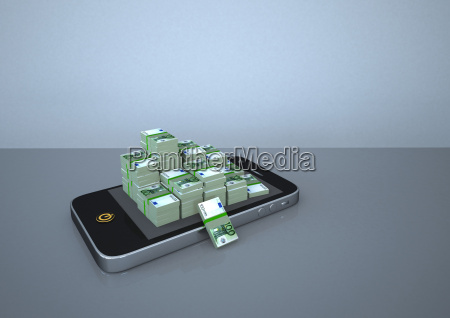 illustration of smart phone with stack