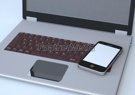 ilustracion de telefono inteligente y portatil