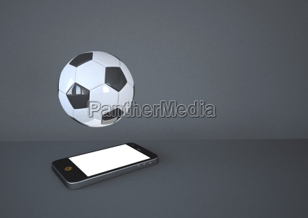 smartphone with football on grey background
