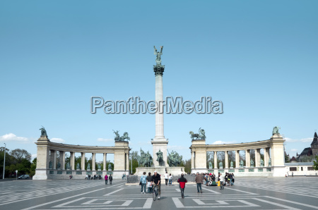 hungary budapest view of millenium monument