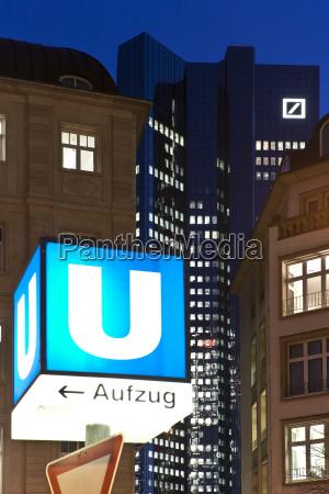 germany hesse frankfurt underground sign in