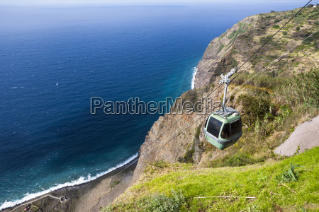 portugal cable car station on cliffs