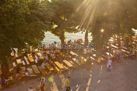 germany bavaria people in beer garden