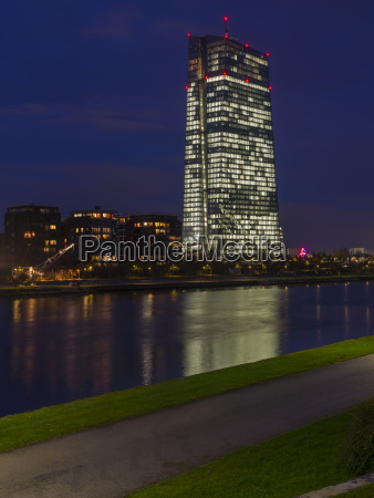 germany frankfurt river main with ecb