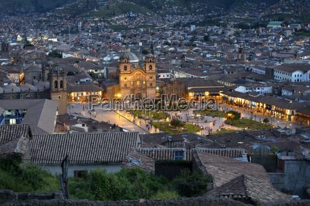 peru cusco cityscape with illuminated plaza