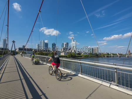 germany hesse frankfurt financial district cyclists
