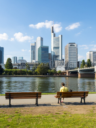 germany hesse frankfurt bank of river