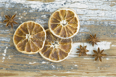 dried orange slices and star anises