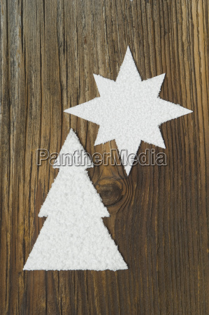 carved christmas tree and star on