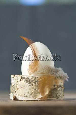 easter egg with feather on eggcup