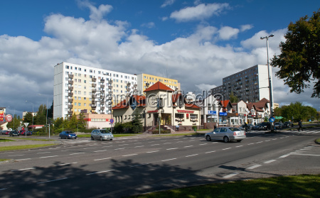 poland view of residential buildings at
