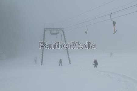 germany bavaria ski lift in fog