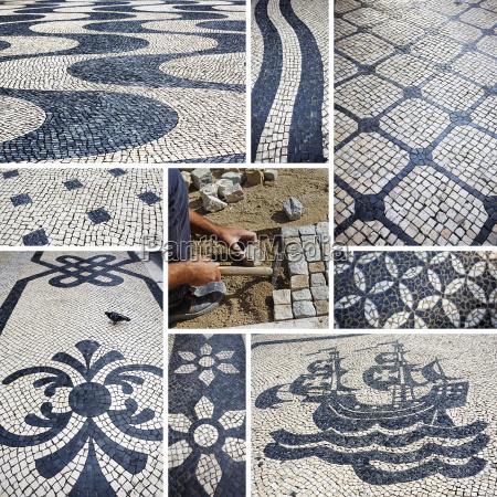 portugal lisbon cobblestones mosaics
