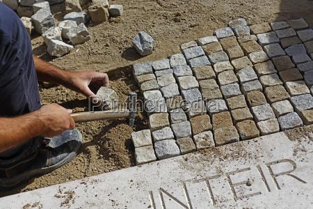 portugal lisbon paviour cobblestones