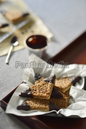 nut triangles with chocolate icing