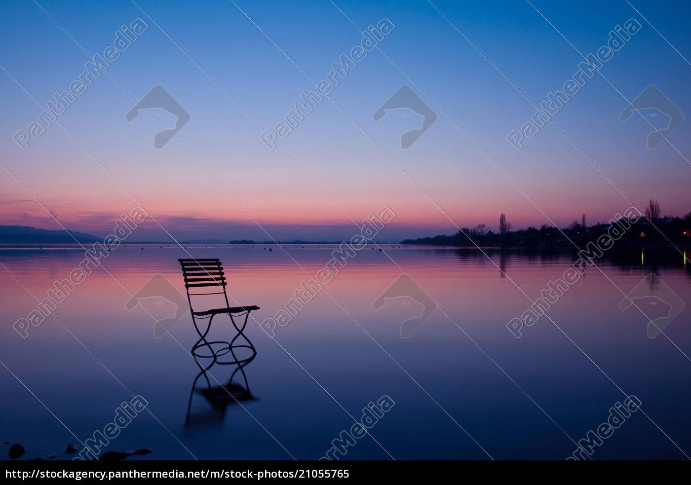 germany, , baden, wuerttemberg, , chair, at, lake - 21055765
