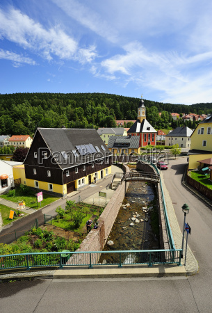 germany saxony schmiedeberg townscape with river
