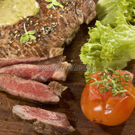 grilled rib eye steak with herb