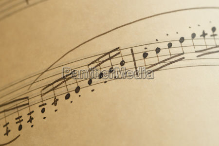 sheets of musical notes close up
