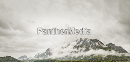 austria anif mountainside in foggy weather