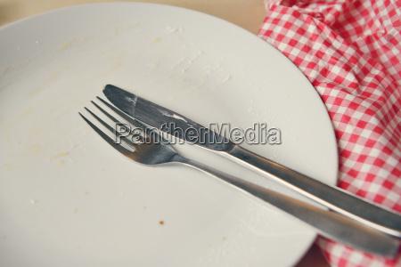 leere platte mit gabel und messer