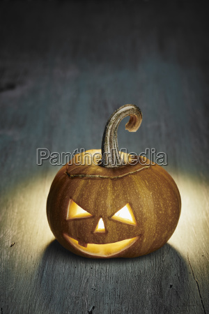 halloween pumpkin on wooden table