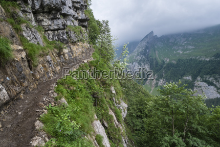switzerland view of hiking trail from