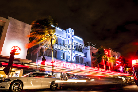 usa miami ocean drive by night