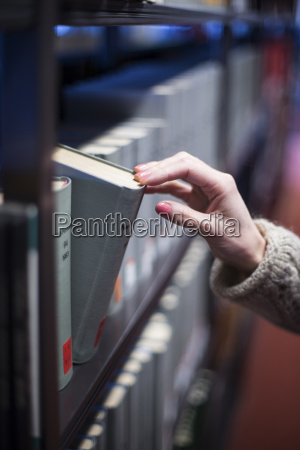 close up of woman in library