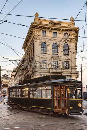 italy milan historical tramway driving on