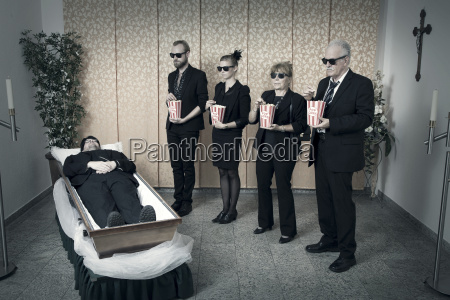 vigil by the body with popcorn