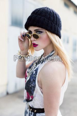 stylish young woman wearing black wool