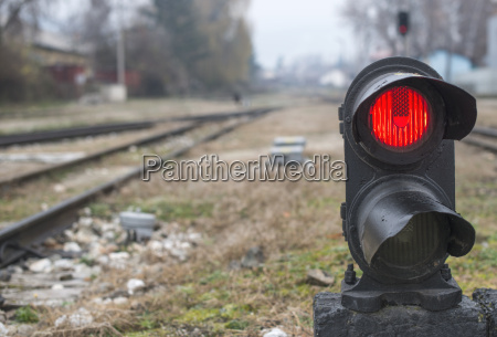bulgaria velingrad traffic light on railway
