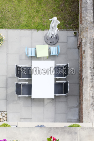 germany terrace with garden furniture view