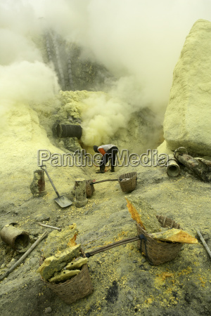 indonesia java sulphur miners working in
