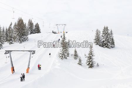 austria saalbach ski lift in skiing