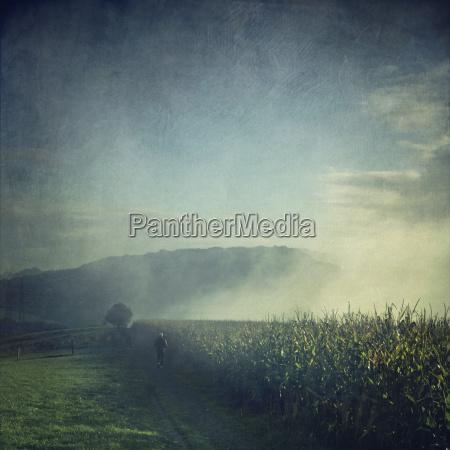 jogger running in misty landscape at