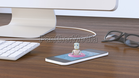 female robot bathing in cell phone