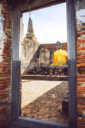 thailand ayutthaya old buddha statue in