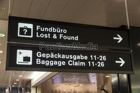 switzerland zurich direction signs at airport