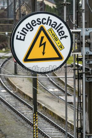 austria leonding caution label at rail